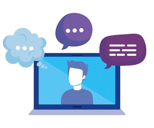 Laptop mit social media-ikonen