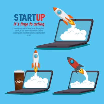 Laptop mit start-up-business-ikonen