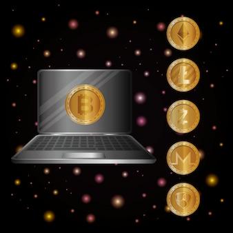 Laptop mit virtuellen münzen
