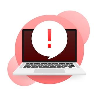 Laptop mit warnschild auf dem bildschirm auf rotem hintergrund