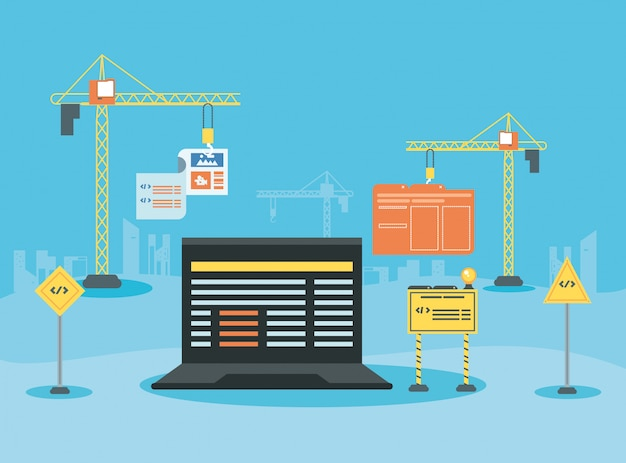 Laptop mit webseite im aufbau