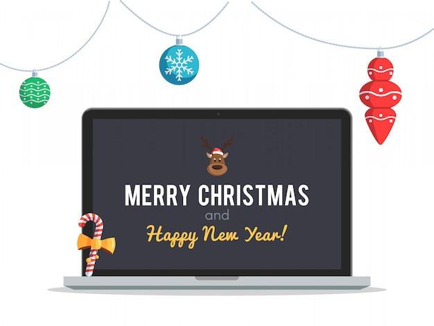 Laptop mit weihnachtsgrüßen
