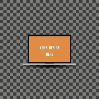 Laptop-Mock-up-Vorlage Illustration auf transparentem Hintergrund.