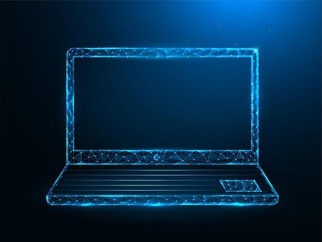 Laptop poly art. polygonale illustrationen des notizbuchs auf einem blauen hintergrund.