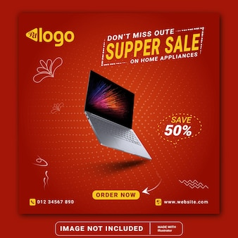 Laptop quadratischer flyer verkauf social media instagram post banner vorlage