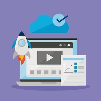 Laptop-raketendokument und cloud-computing auf violettem hintergrund