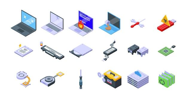 Laptop-reparaturikonen stellten isometrischen vektor ein. techniker reparatur