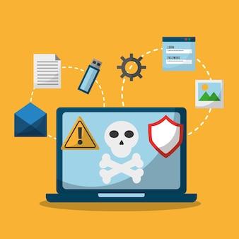 Laptop-schreckgespenst und einschmelz-malware-angriff