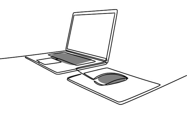 Laptop-setup einzeilig durchgehende linie kunst premium-vektor