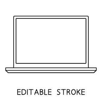 Laptop-symbol notebook oder ultrabook mit dünnem rahmen einfaches flaches symbol für laptop-computer