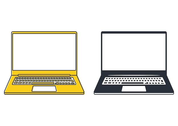 Laptop-symbole. notebook oder ultrabook mit dünnem rahmen. einfaches flaches symbol der laptop-computer. perfektes piktogrammsymbol des tragbaren computers mit leerem monitor. vektor
