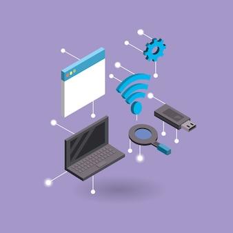 Laptop-technologie mit datendienst verbinden