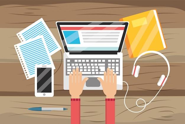 Laptop-technologie mit e-learning-ausbildung und buch