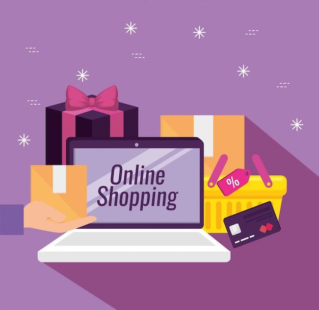 Laptop-technologie mit paketen und kreditkarte