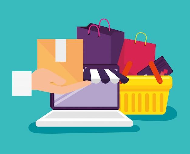 Laptop-technologie zum online-shopping mit korb und taschen