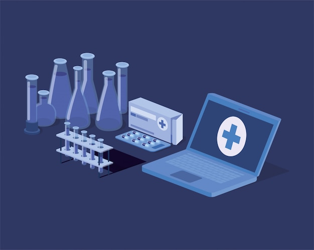 Laptop-telemedizinservice mit röhrentests