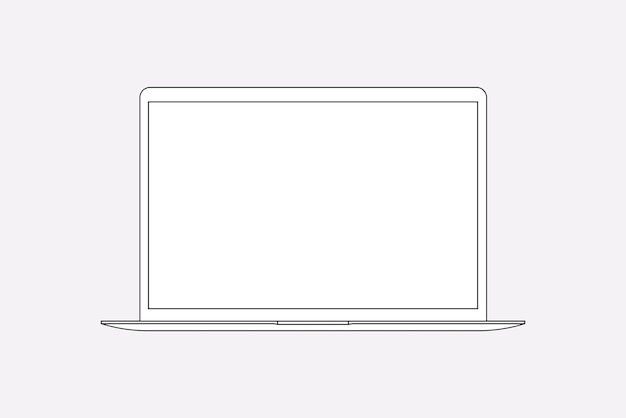 Laptop-umriss, digitale gerätevektorillustration des leeren bildschirms