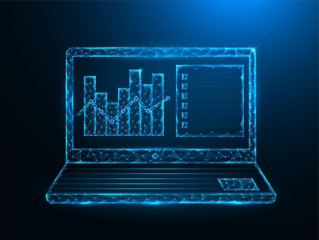 Laptop und analytische daten low poly art. polygonale illustrationen der notizbuch- und datenanalysegrafik auf einem blauen hintergrund.
