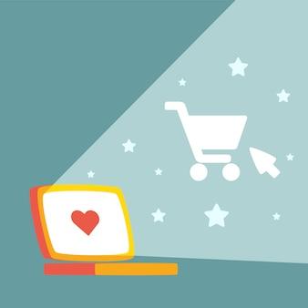 Laptop und einkaufswagen