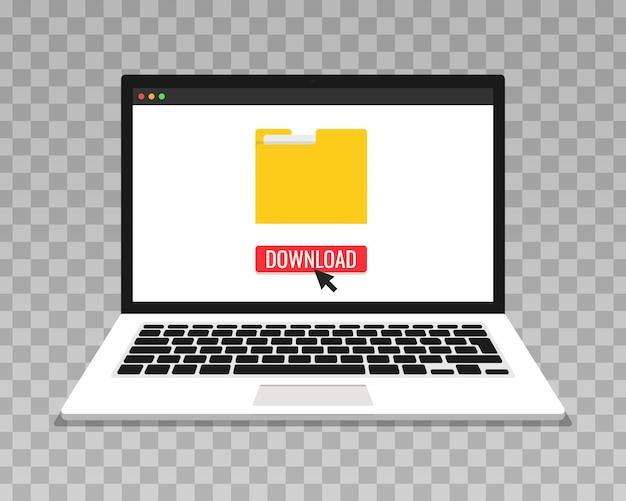 Laptop und fortschrittsbalken auf dem bildschirm. datei herunterladen, informationskonzept. transparenter hintergrund.