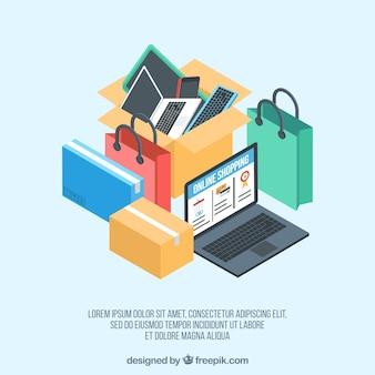 Laptop und isometrische online-shopping-artikel