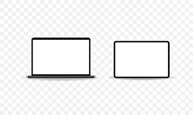 Laptop- und tablet-symbol im dunklen stil