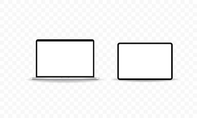 Laptop- und tablet-symbol und geräte