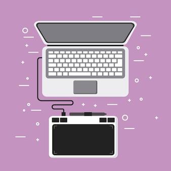 Laptop und zeichnung tablet stift design-ausrüstung