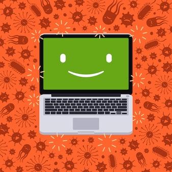 Laptop unter dem virusangriff