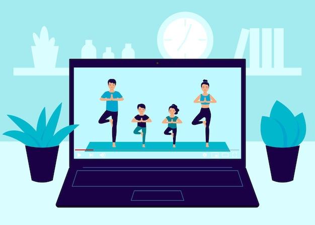 Laptop-video online von yoga-familienübungen zu hause vatermutter und kinder, die yoga praktizieren