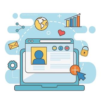 Laptp-websitemitteilungsweltdiagramm-e-mail-netz-social media