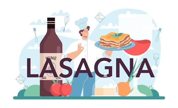 Lasagne typografischer header italienische köstliche küche auf dem teller