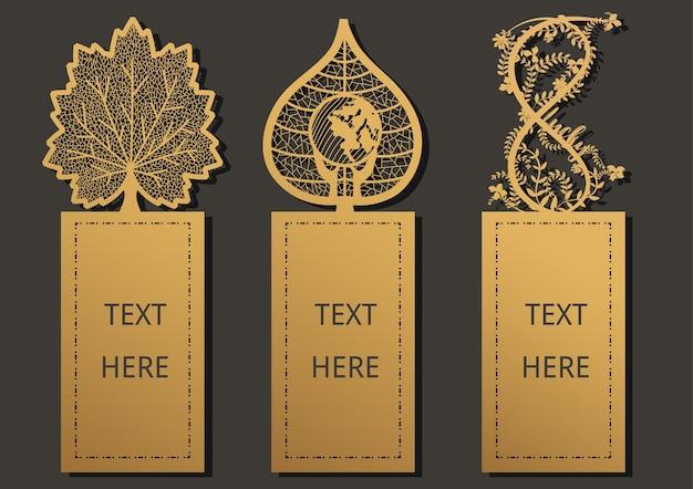 Laser geschnittene vorlage für grußkarte, geschenkkarte, danktag, lesezeichen.