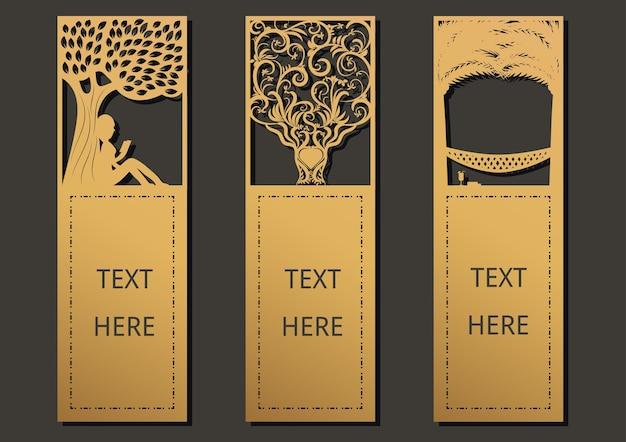 Laser geschnittener schablonenrahmen für grußkarte, bookmark.