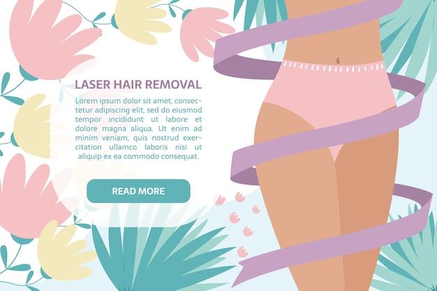 Laser-haarentfernungsbanner. frau mit band um den körper, blätter und blumen dekoration