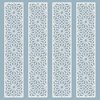 Lasergeschnittene dekorative spitzenränder mit arabischem muster. satz von lesezeichen