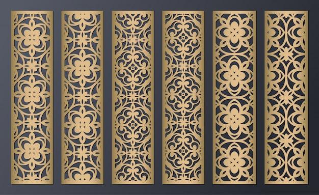 Lasergeschnittene dekorative spitzenrandmuster. satz von lesezeichenvorlagen. laubsägearbeitsplatte. lasercut metallplatte. holzschnitzen