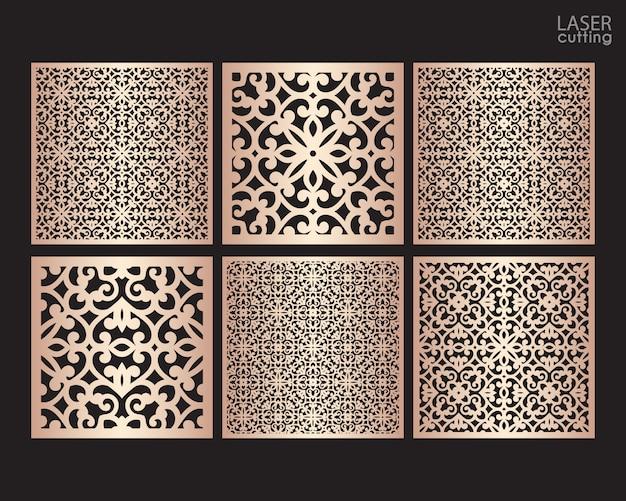Lasergeschnittene quadratische zierplatten mit muster, vorlage zum schneiden. metalldesign, holzschnitzerei.