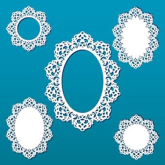 Lasergeschnittene rahmensammlung. satz abstrakte ovale und runde rahmen mit wirbeln, verzierung, weinleserahmen. kann zum laserschneiden verwendet werden. fotorahmen mit spitze zum papierschneiden.