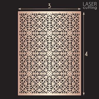 Lasergeschnittene zierplatte mit muster, schablone zum schneiden. metalldesign, holzschnitzerei.