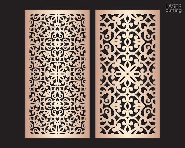 Lasergeschnittene zierplatten mit muster, schablone zum schneiden. metalldesign, holzschnitzerei.