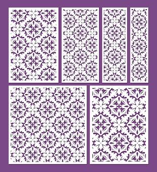 Lasergeschnittene zierplatten-vorlagen set dekorative spitzenbordüren-muster-vektor