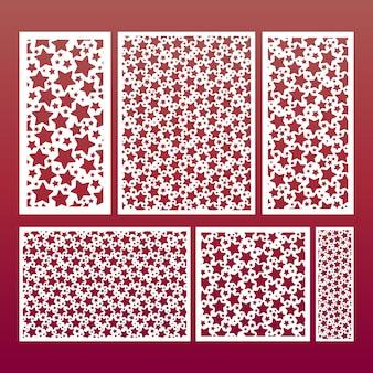 Lasergeschnittenes paneel-set mit sternenmuster, schablonen für holzschnitzereien, dekoratives papierausschnitt