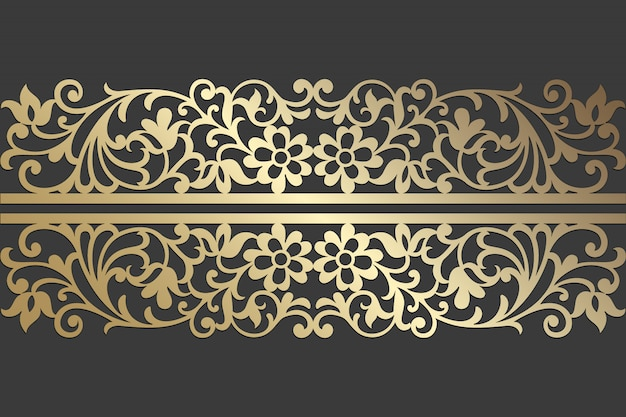 Lasergeschnittenes panel-design aus floraler spitze. verzierte weinlesevektor-grenzschablone für laserschneiden, glasmalerei, glasätzen, sandstrahlen, holzschnitzen, kartenherstellung, hochzeitseinladungen.
