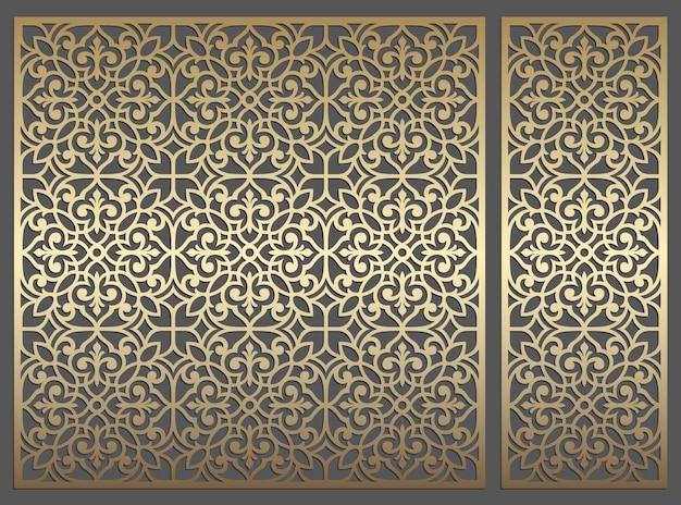 Lasergeschnittenes plattendesign. verzierte sich wiederholende weinlesevektor-grenzschablone für laserschneiden, glasmalerei, glasätzen, sandstrahlen, holzschnitzen, kartenherstellung, hochzeitseinladungen.