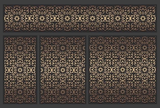 Lasergeschnittenes plattendesign. verzierte weinlese-randschablone.