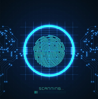 Laserscanning des fingerabdrucks der digitalen biometrischen sicherheitstechnologie low-poly-drahtkontur