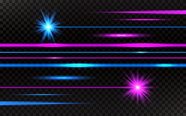 Laserstrahlen gesetzt. rosa und blauer horizontaler hintergrund der hellen strahlen