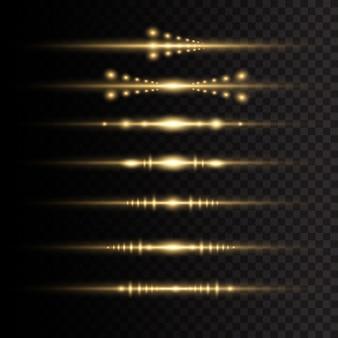 Laserstrahlen, horizontale lichtstrahlen. gelbes leuchtendes licht explodiert auf einem transparenten hintergrund.