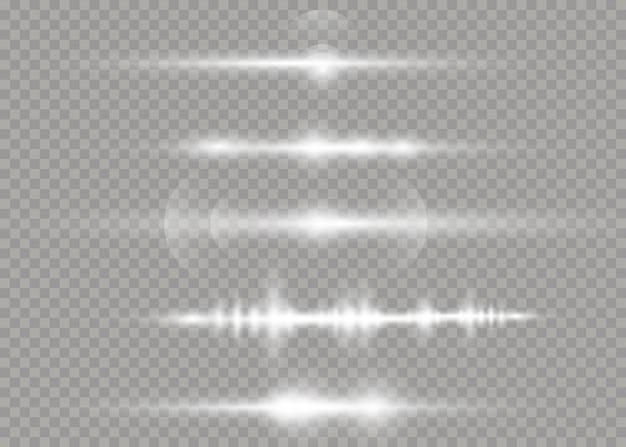 Laserstrahlen, horizontale lichtstrahlen. schöne lichtfackeln. weißes leuchtendes licht explodiert auf einem transparenten hintergrund. vektorabbildung, eps 10.